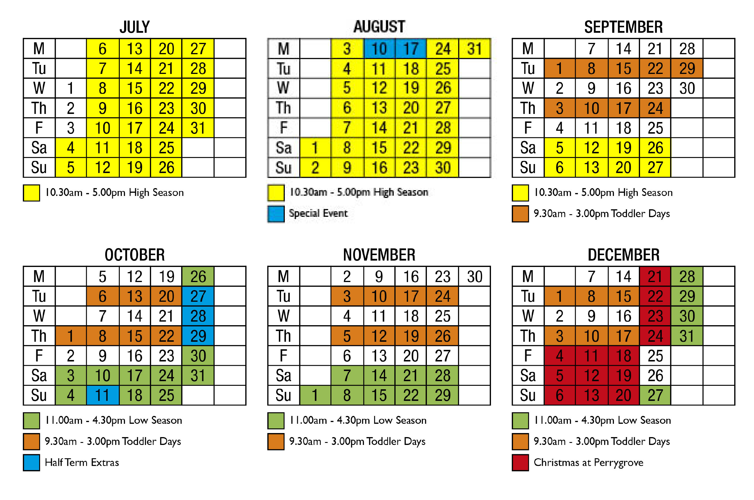 perrygrove opening times calendar